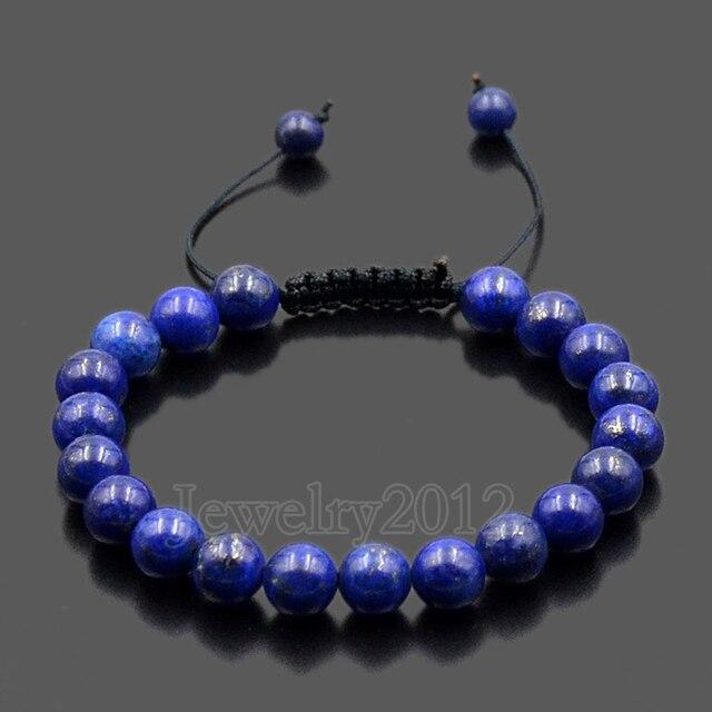 5pcs Lot Natural Lapis Lazuli Men Women 8mm Gems Stones Braided Macrame Beads Bracelet Adjust