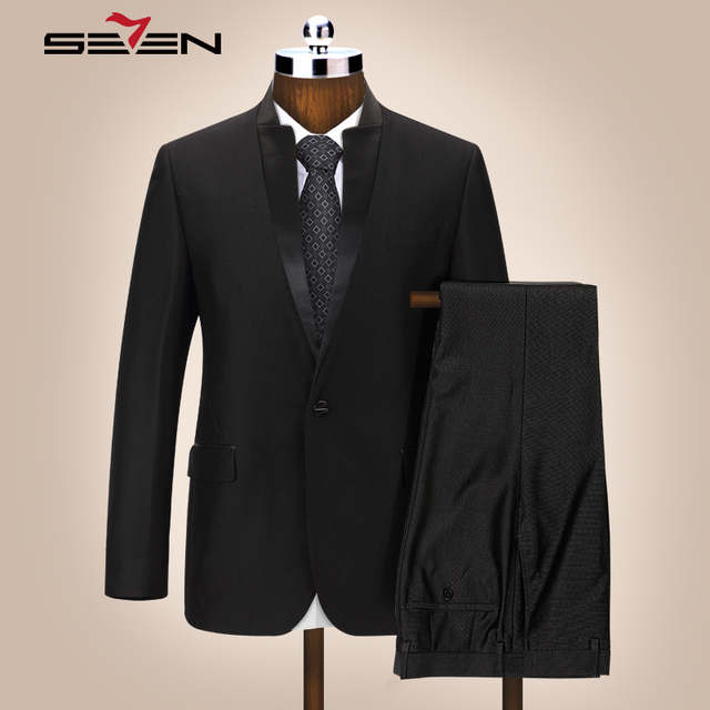 Seven7 свадебный костюм для Для мужчин Жених Черный Slim Fit китайский стенд воротник платье в деловом стиле костюмы мужской смокинг пальто брюки 2018 903C1220