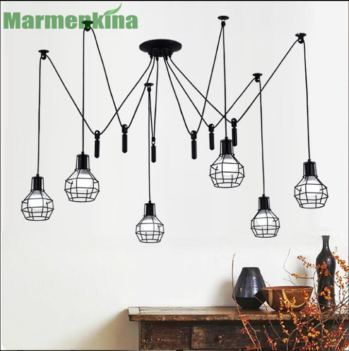 Free shipping Retro lift pulley small iron cage spider pentand lamp living room dining room lamp work lamp. E27, AC: 110-240V. free shipping modern dining table designs discount lamp shades