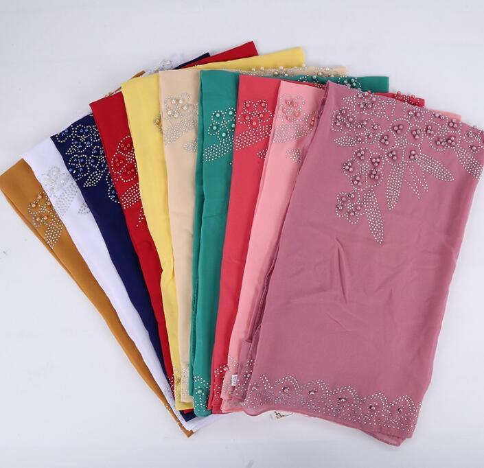beaded square   scarf   hijab shawl with stone and pearl   scarf   chiffon arab head   scarf     wrap   shawl 100cm free ship 10 colors 20pc/lot