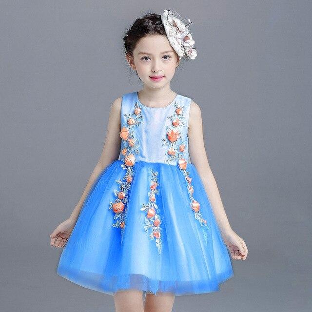 d5cd15957c6c0c Prinses Bloemen Tule Tutu Jurk Voor Meisjes Blauw Kleur Meisje Ruches Zomer  Westerse Mode Jurken