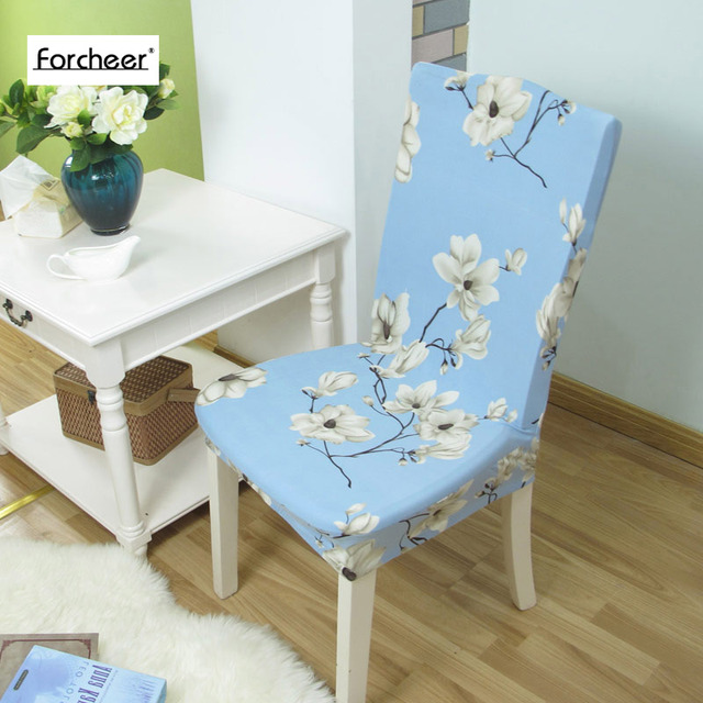 Floral Print Flower Pattern Elastic Multifunctional Spandex Dining Room Chair Cover For Modern Kitchen Table
