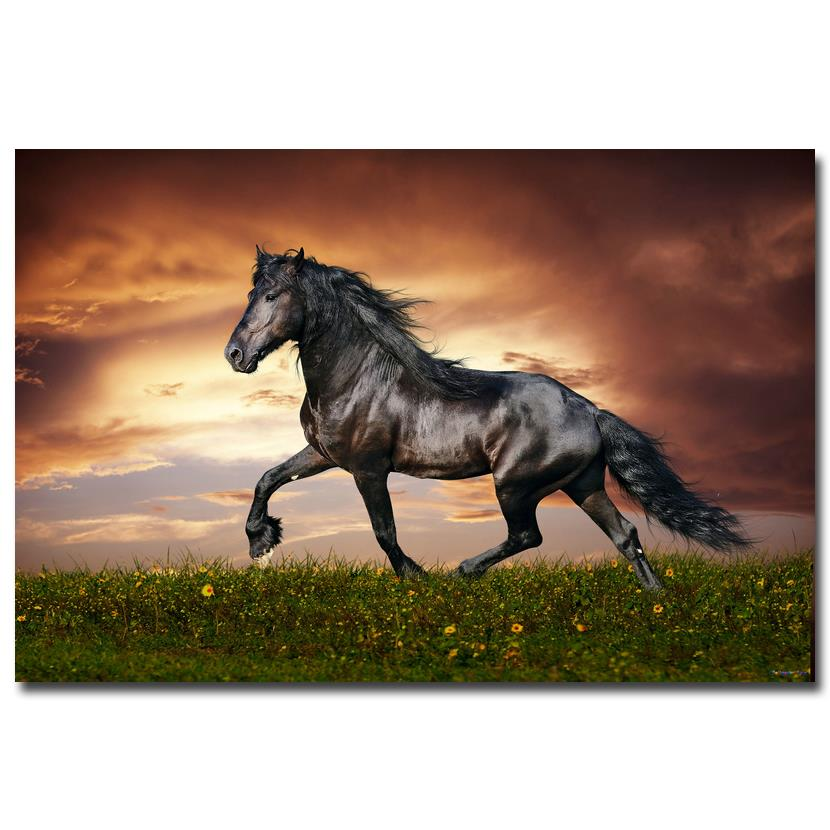 NICOLESHENTING Sunset - Wild Horse Nature Art Silk Poster Print 12x18 24x36 inches Animals Picture Home Room Decor 015 ...