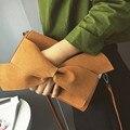 Sólido de la manera de Las Mujeres Embrague Bolsa de Cuero Nobuck Arco Mujeres Bolsa de Embrague Bolso de Noche Bolso Del Partido Embragues Bolso Femenino