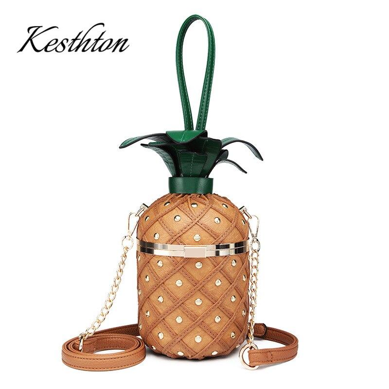 Pineapple Shape solid hard women clutch hand bags fashion bucket fruit ladies chains single shoulder bags