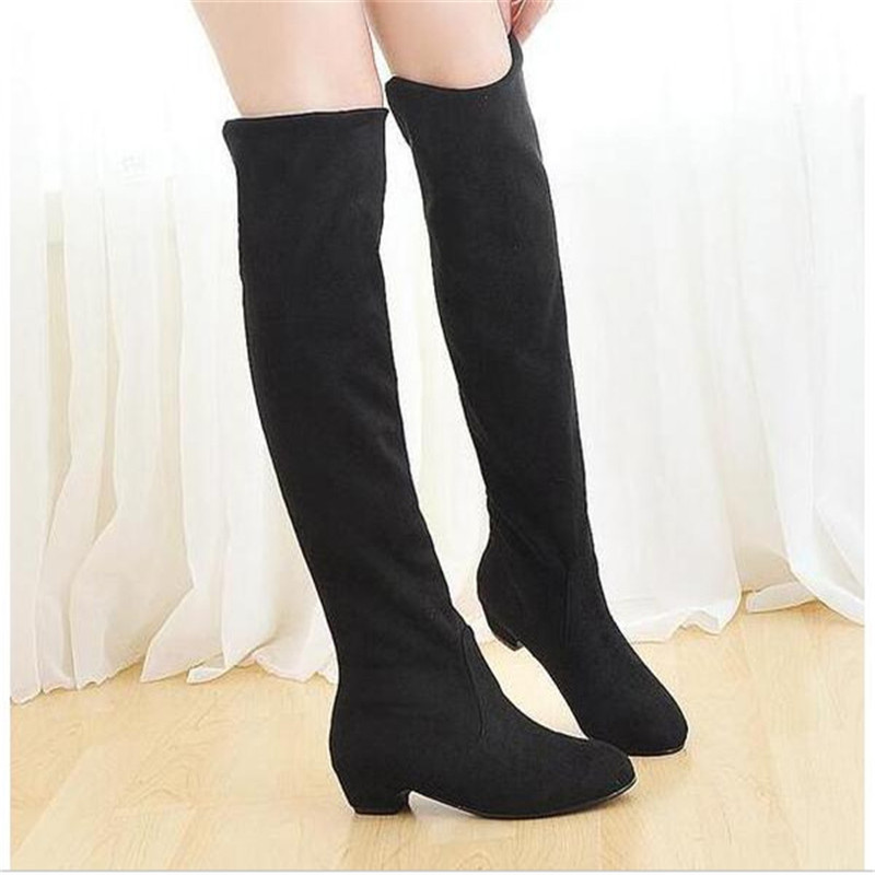 Woman Black Suede Over Knee Boots Winter Warm Boots many wear ways Women Sexy square heel Slim Fit Stretch Booties Botas Mujer