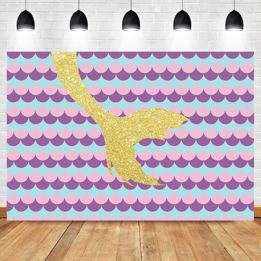 Neoback Mermaid Backdrop Princess Pink Fish Scales Baby Birthday Party Banner Photo Background Dessert Table Decorations Props Background