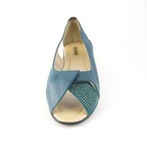 Image 5 - Mais tamanho (35 43) novo 2020 verão sapatos femininos de couro genuíno cunhas casuais sapatos sandálias femininas bombas para mulher