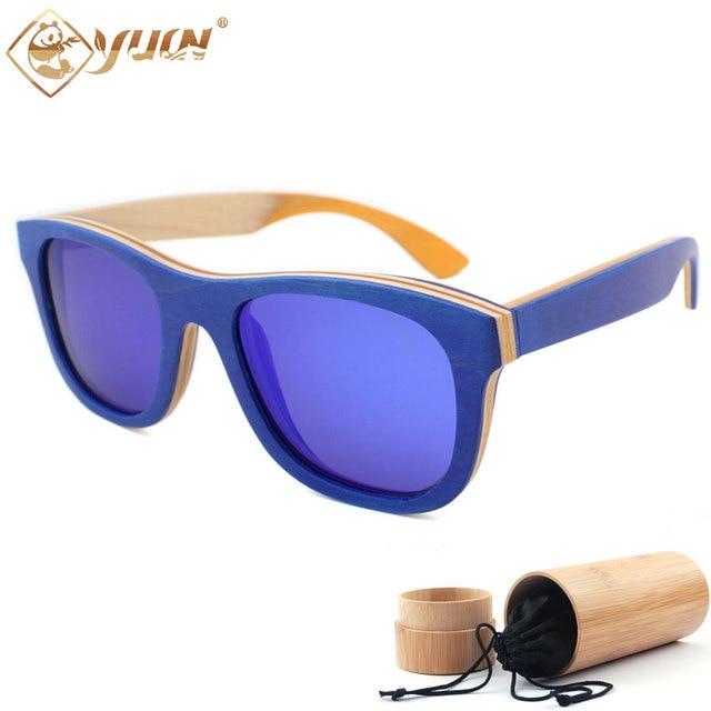 Natural Handmade Sunglasses Women Mens Driving Sun Glasses Skateboard Frame Polarized Lens with UV400 Protection W109