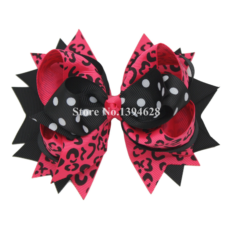 USD1.88/PC 5.5Inches Black Pink Leopard Print Hairpin Cute Headwear for Girls Stacked Boutique Bows With 6cm Hair Clip Hairpins