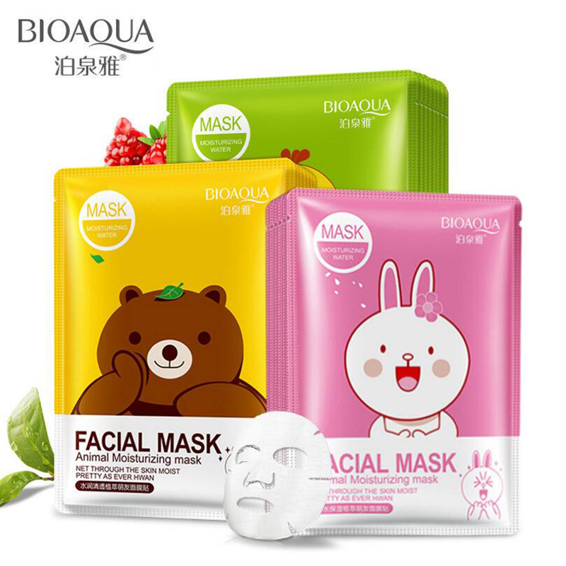 BIOAQUA Cartoon Animal Moisturizing Face Facial Mask Fresh Anti-Acne Plant Extract Oil Control Hydrating 3 Colors