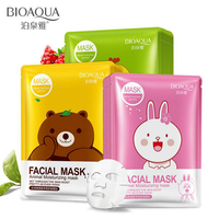 BIOAQUA Cartoon Animal Moisturizing Face Facial Mask Fresh Anti-Acne Plant Extract Oil Control Hydrating 3 Colors Face Mask & Treatments