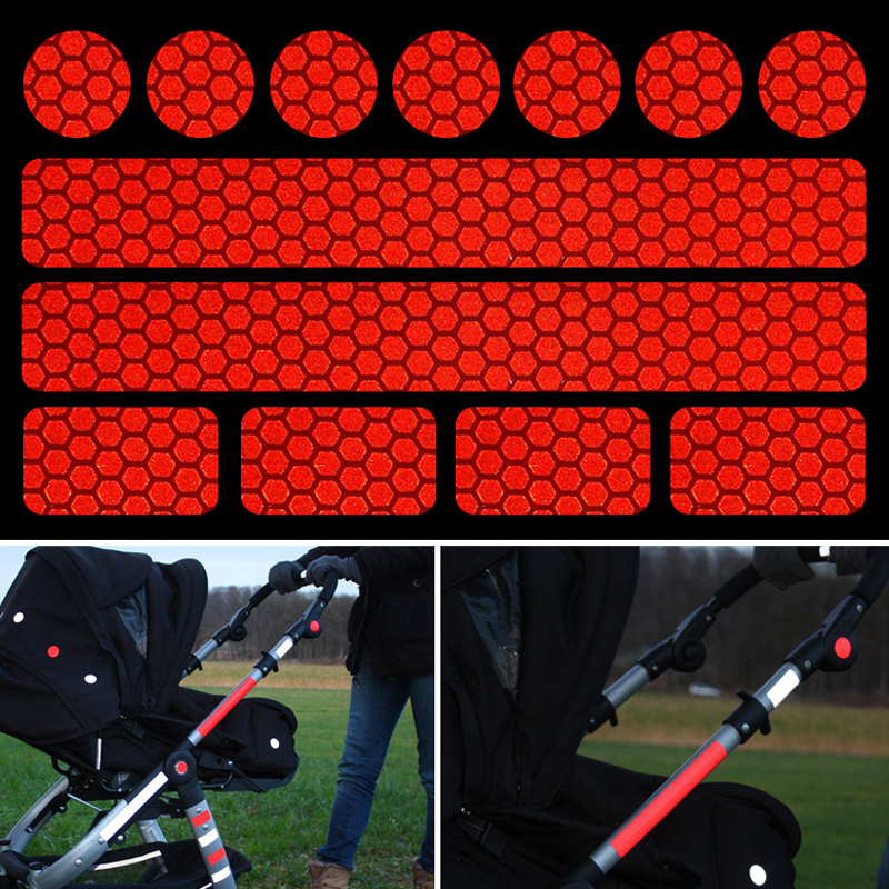 Reflective sticker for pushchairs, bicycle helmets