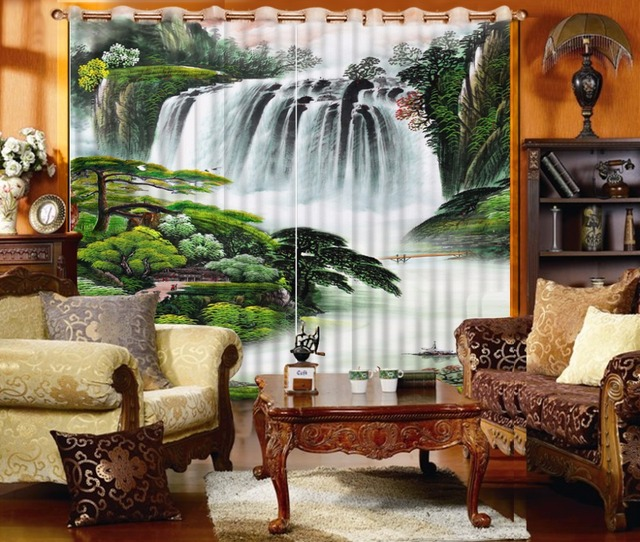 Thickness High Quality 3D Living Room Bedroom Children Room Curtains Forest  Waterfall Polyester The Bedroom Curtains