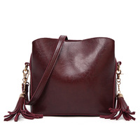 New Women's Shoulder Bag Red, Black, Brown, Deep purple Fashion Crossbody Tassel Retro Oil Wax Leather Solid Color Bags