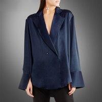 Новый сезон Мода атласная рубашка с лацканами женский Европейский высокого класса