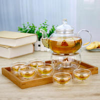 8in1 Gift Teaset Heat resistant Glass Teapot and 6 double wall cups and warmer Giftset Microwavable and stovetop Safe Tea Pot