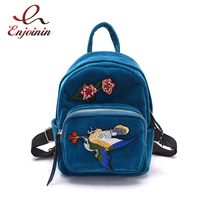 Personalized Fashion Luxury Charm Corduroy Embroidery Bird Flowers Ladies Casual Backpack School Bags 3 Colors