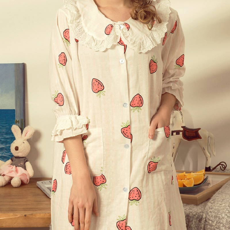 5c62e092a1f4a Cotton Strawberry Maternity Sleepwear Pregnant Women Pajamas Nursing Breast  Feeding Nightgown Clothes For Half Sleeves-in Sleep & Lounge from Mother &  Kids ...