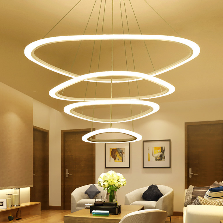 Modern LED lustre chandelier Luxury Ring Living Room led lamp Arc triangle Hanging Lighting Fixtures Adjustable Chandeliers modern led crystal chandelier lights lamp for living room cristal lustre chandeliers lighting pendant hanging ceiling fixtures
