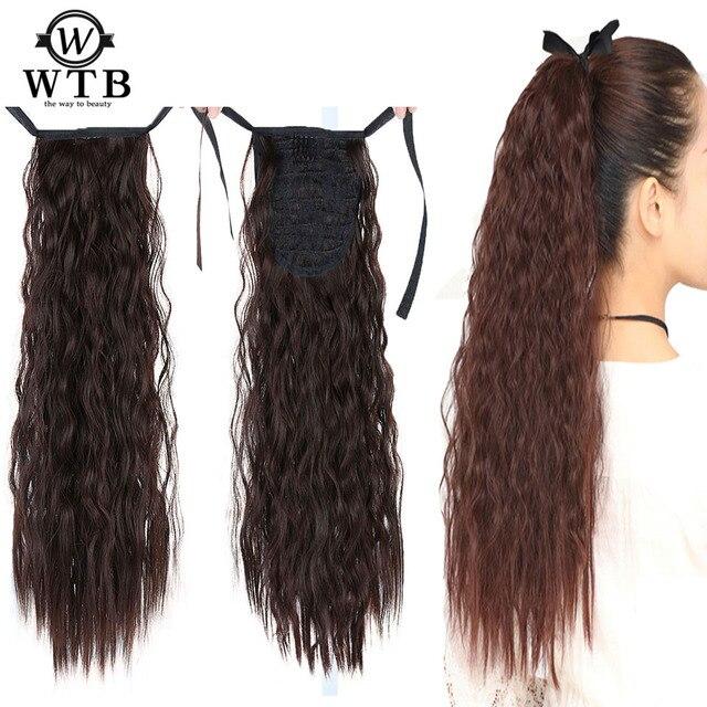 WTB resistente al calor sintético HairCurly larga cola de caballo peluca cola Clip rizado de la extensión del pelo de la onda larga cola de caballo pelo Clip