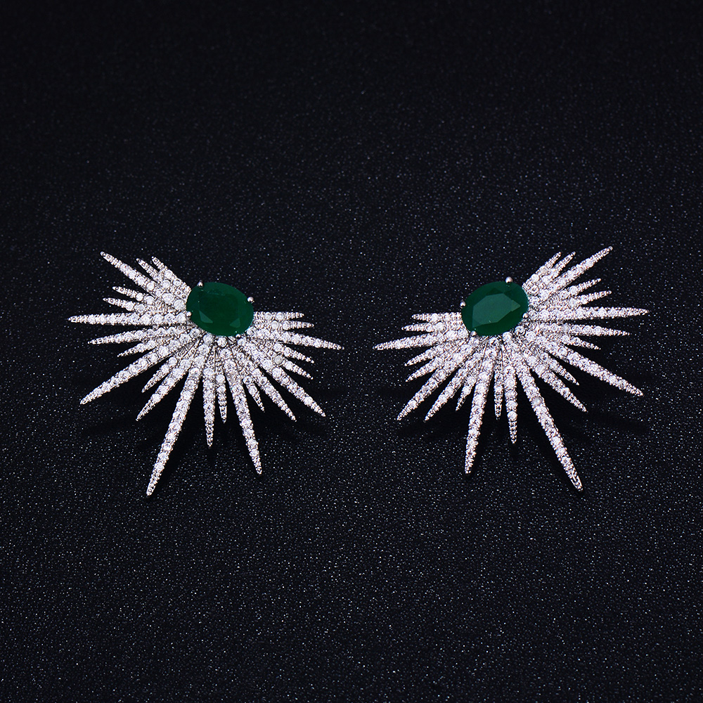 GODKI Brand New hot Fashion Popular Luxury Crystal Zircon Stud Earrings Spark Shape Flower Earrings Fashion Jewelry for women pair of hot sale stunning fashion style magnetic crown shape stud earrings