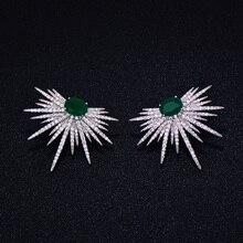 GODKI Brand New hot Fashion Popular Luxury Crystal Zircon Stud Earrings Spark Shape Flower Earrings Fashion Jewelry for women