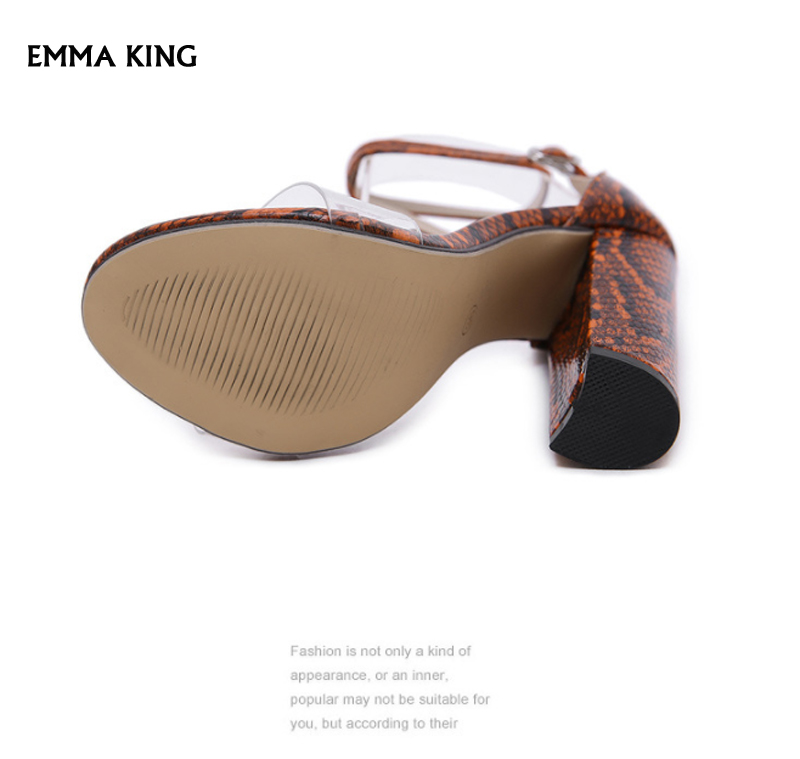 Новые летние босоножки; женские босоножки на толстом каблуке со змеиным узором; Sandalias Mujer; модные женские туфли на очень высоком каблуке с пряжкой на лодыжке - 6