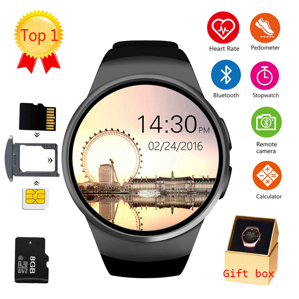 US $35 45 55% OFF|LEMFO KW18 Bluetooth smart watch full screen Support SIM  TF Card Smartwatch Phone Heart Rate for apple gear s2 huawei xiaomi-in