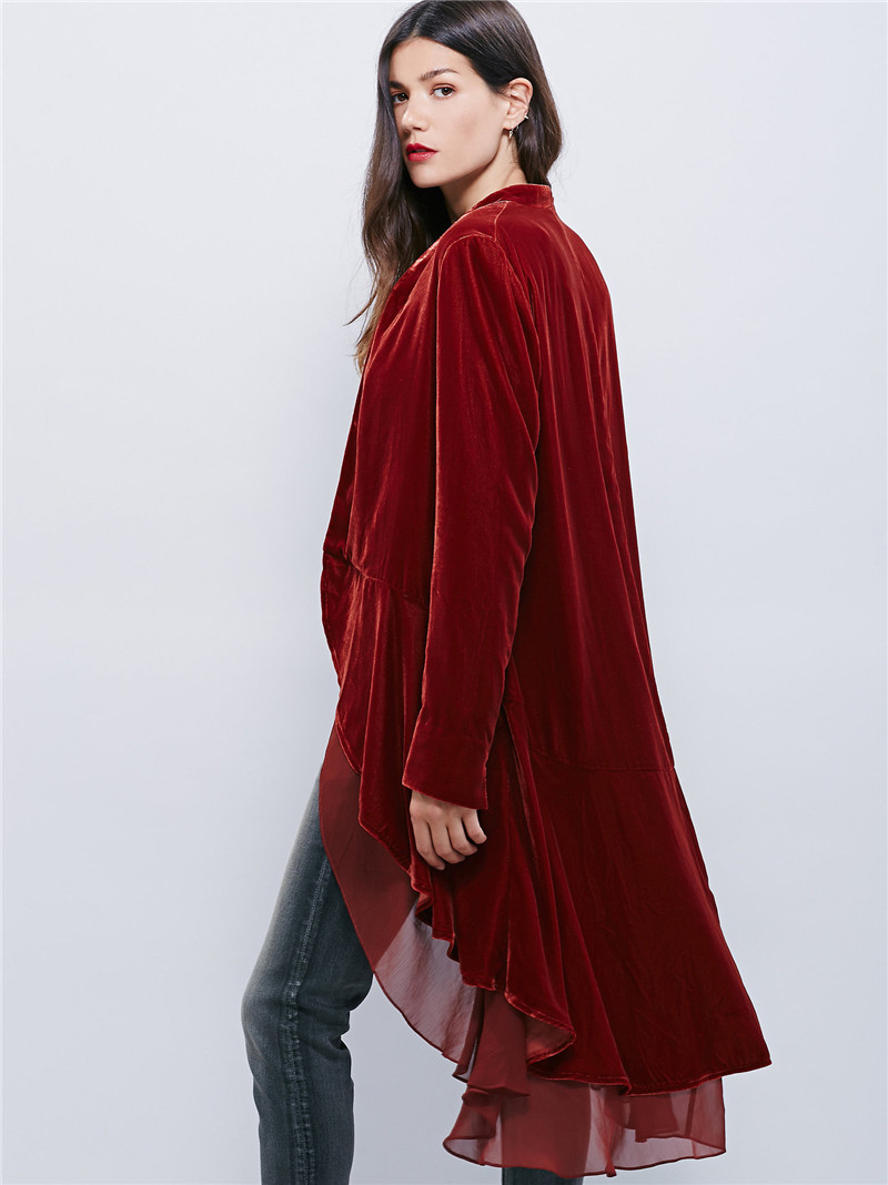 Coat Loose Velvet Black Chiffon Casual Long Oversize Jackets Patchwork Women Elegant Ruffled green Open burgundy Windbreaker khaki gray Stitch xpwqpOzA
