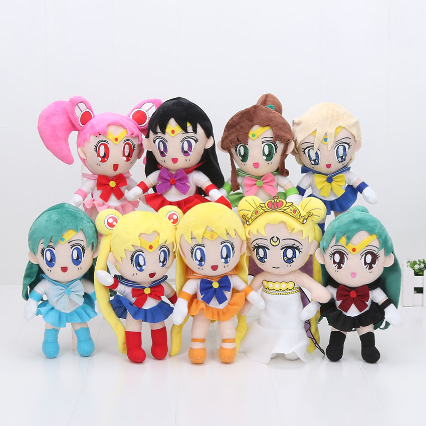 9pcs lot 20cm Sailor Moon Plush Toy Tsukino Usagi Cute Sailor Mercury Soft Stuffed Doll Japanese