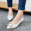 Plus Size 34-49 Elegant Square Rhinestone Soft Leather Women Flats Crystal Woman Boat Shoes Casual Ladies Flats Free Shipping