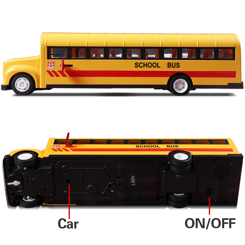 цена на 2017 New 2.4G Remote Control School Bus Car Charging Electric Open Door RC Car Model Toys For Children Gifts E626-003