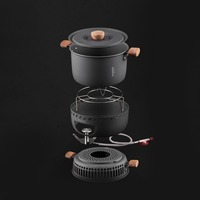 Alocs CW C33 Stove Pot Outdoor Cooking Tool Wind Proof Gas Stove Camping Pot Picnic Supplies Portable Cookware Set 2 4 Persons