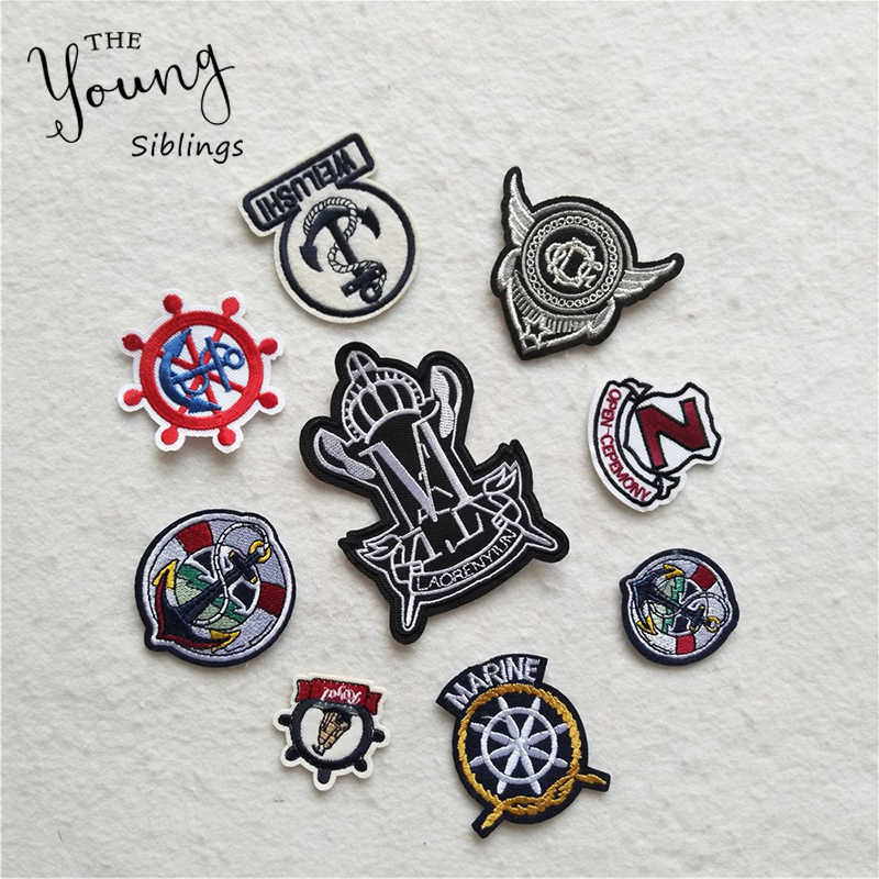 Exquisite embroidery patches boat rudder iron on patch badges for Clothes Bag Phone thermo-stickers Scrapbooking DIY Accessories