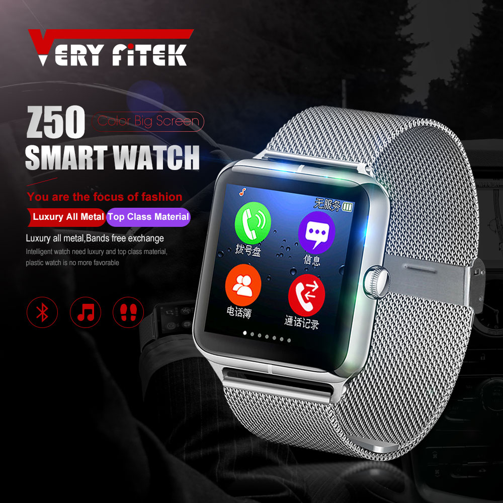 VERYFiTEK J50 Bluetooth 4.0 Smart Watch Men Women Touch Screen Relogios Support TF Sim Card Camera for Android IOS Smartwatch