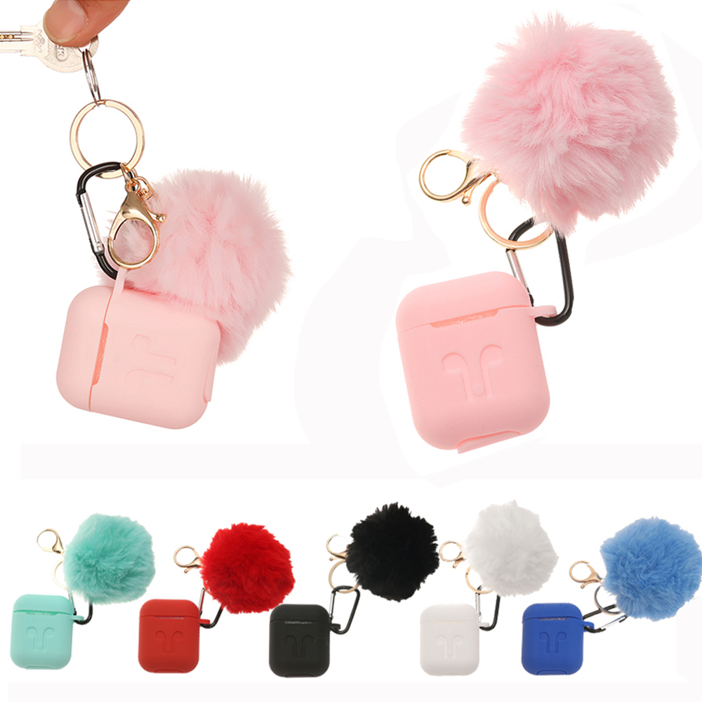 Hot Fashion Protective Case For Air Pods Earphone Pouch Drop Proof Silicone Cover Cute Fur Ball Keychain For Airpods Accessories