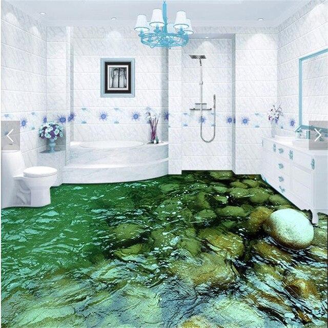 Moderna pintura de piso HD paisaje natural piedra agua impermeable ...