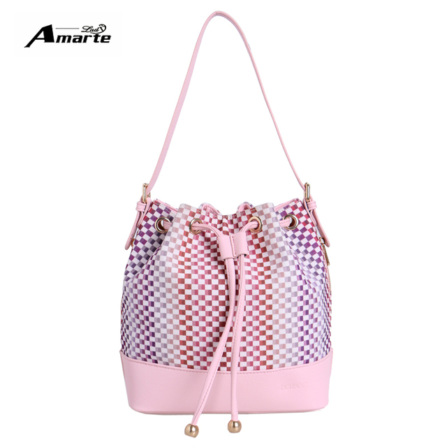 Women Shoulder Bag Amrate Brand Bucket Bags 2016 Designer Brand Patchwork Fashion Crossbody Bags PU Women Handbag