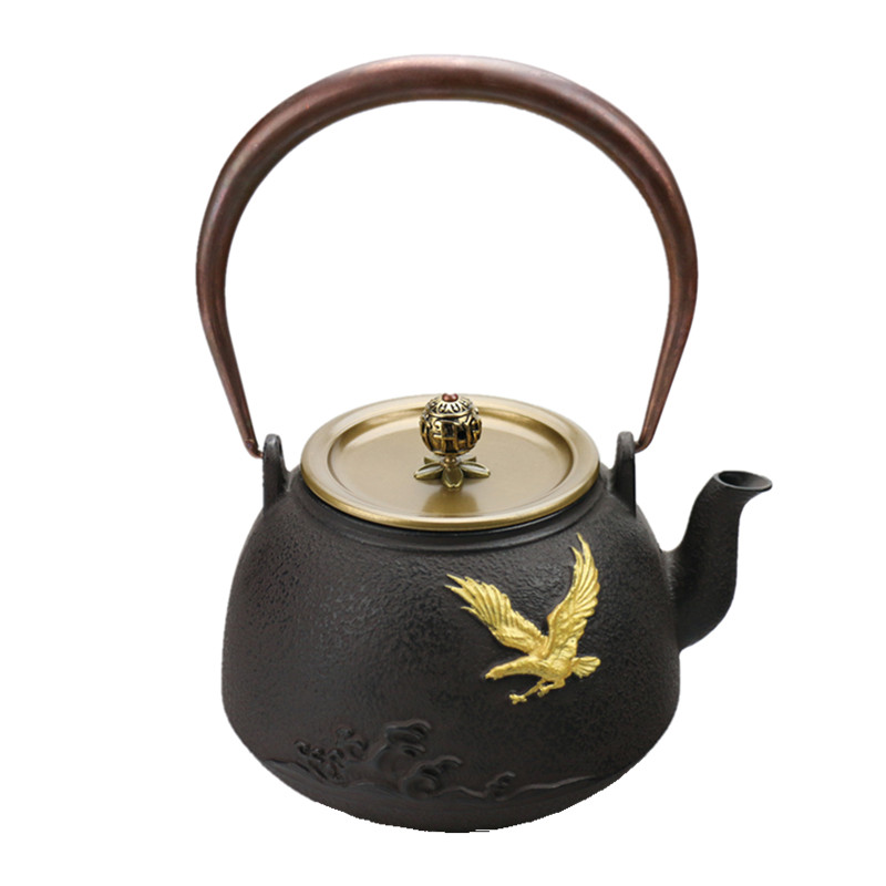 Drinkware 1.4 New Eagle Cast Iron Tea Pot Japanese Kung Fu Hand-painted Kettle Creative Drinkware