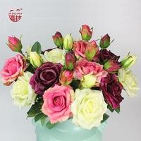 7/9/11/15 STKS Aankoop Single-Side Latex Coating Home/Bruiloft Decoratie Bloem Decoratieve Real Touch Kunstmatige Rose Bloemen