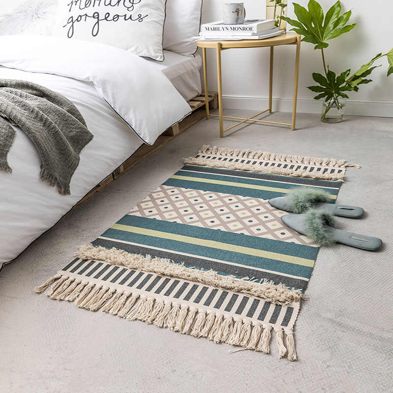 Handmade Cotton Woven Bedroom Rugs Tufted Striped Tels Cozy Soft Washable Durable Area Rug Absorbent Bathroom Carpet Door Mat
