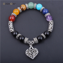 Women Natural Stone Chakra Bracelet with Hollowed Heart Pendant Charm Bracelet Gift femme pulseras mujer bracciale bijoux