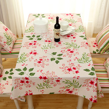 Customize Polyester Cotton Tablecloth Red Cherry Blossom Pattern Pastoral Dust-proof Dining Table cloth Christmas Party Textiles