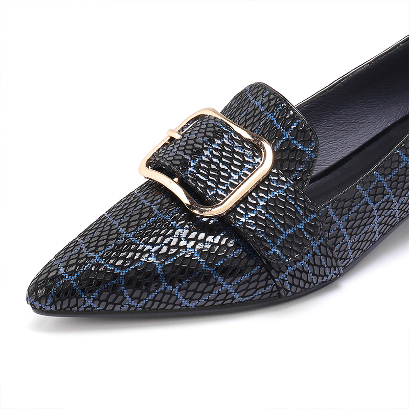 2019 new genuine leather loafers female sheepskin pigskin buckle metal decoration snakeskin pattern checkered casual shoes woman in Women 39 s Flats from Shoes