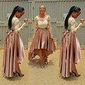 Longo de Cetim Preto Saia 2016 Outono 7XL Plus Size Saia Feminina Cintura Alta vestido de Baile Assimétrico Prom Maxi Do Partido Do Vintage saia