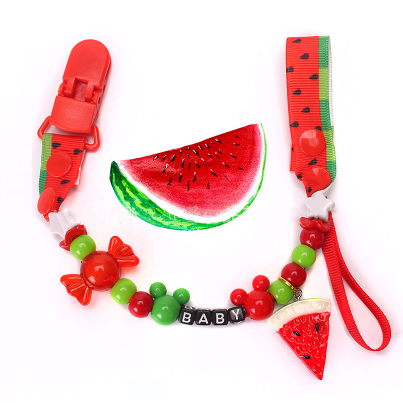 Baby Pacifier Clip Chain Cute Fruit Cartoon Beautiful Ribbon Holder Infant Nipple Feeding Supplies Kids Toy For Gift NBB0203