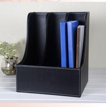 curve 3-slot wood leather desk storage tray A4 file book document box shelf stand filing organizer holder  black 220A