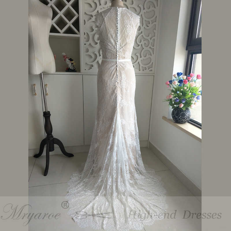 2f011ddbac4d ... Mryarce Exquisite Lace Wedding Dresses Boho Cap Sleeve High Low Hem Wedding  Dress With Button Back ...