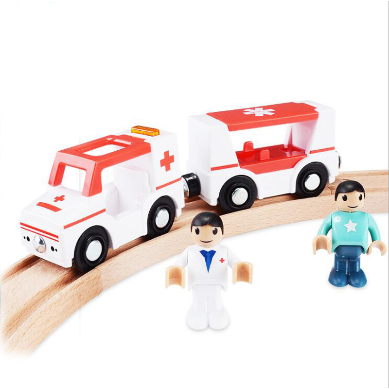 121Free Shipping Acoustic Light Plastic Magnetic Ambulance Kids Traffic Rescue Toys Game Scene Compatible with Thomas Wood Track